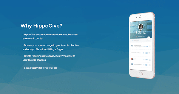 landing page, HippoGive